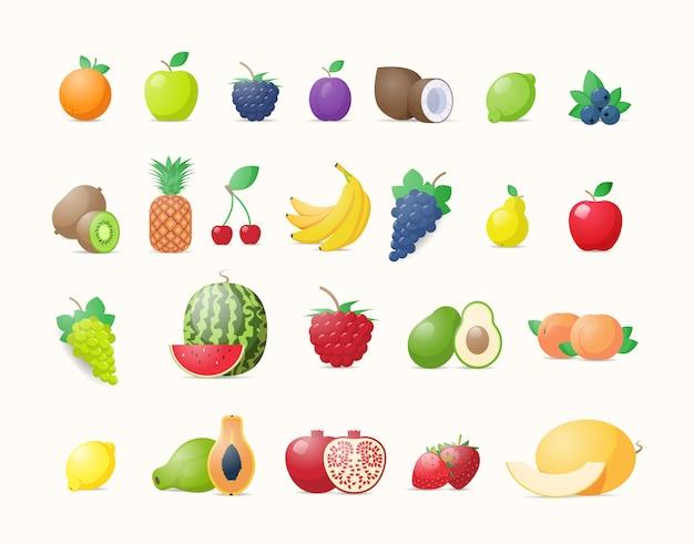 Establecer varias frutas frescas jugosas colección concepto de comida natural saludable horizontal