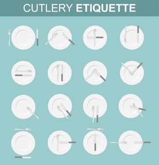 Establecer varias opciones para la ubicación de los enchufes y el cuchillo en el plato en el restaurante