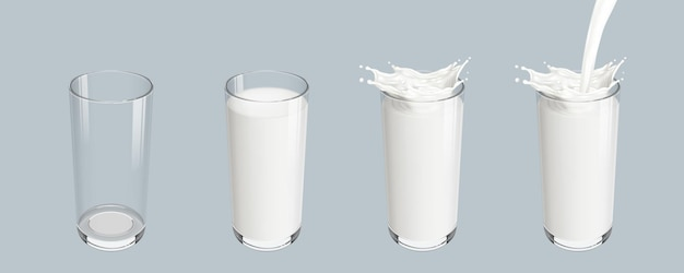 Establecer vaso vacío transparente realista con salpicaduras de leche vertida