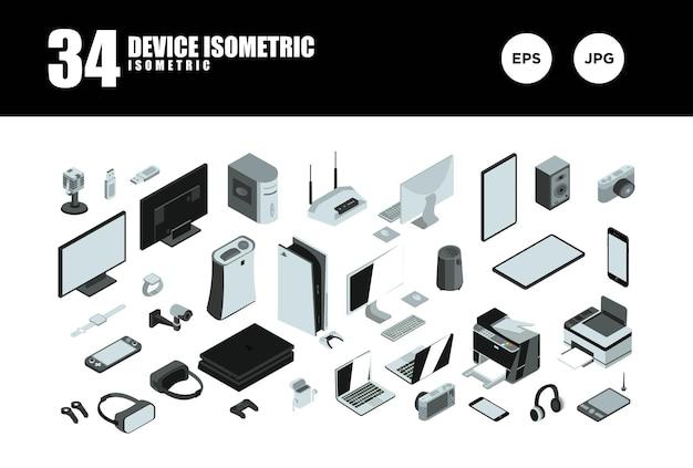Establecer vector de diseño isométrico de dispositivo
