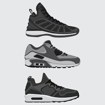 Establecer vector de diseño de zapatillas