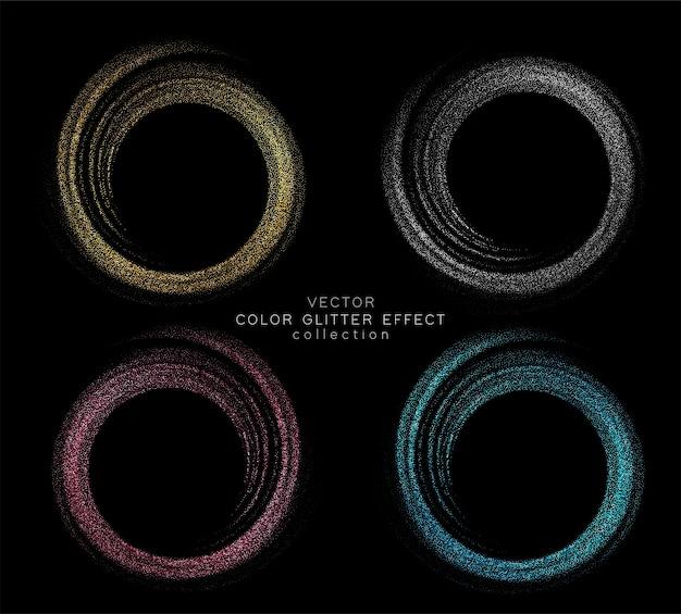 Establecer vector elemento de diseño de remolino de oro color brillante abstracto con efecto de brillo en la oscuridad