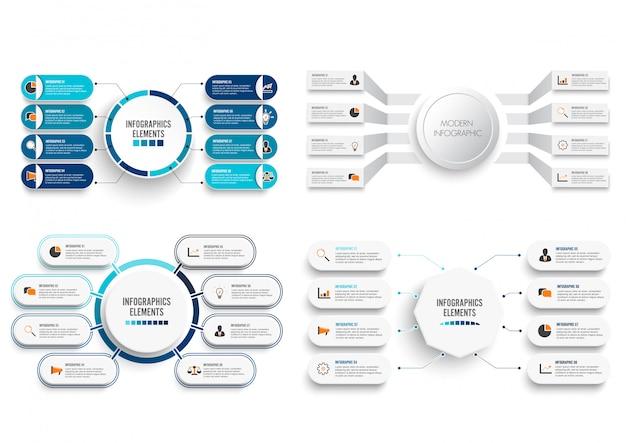 Establecer vector infografía con etiqueta de papel 3d.