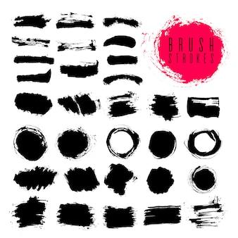 Establecer el vector de trazos de pincel para insertar texto. elementos de diseño grunge. dibujo ilustración color negro sobre fondo blanco.