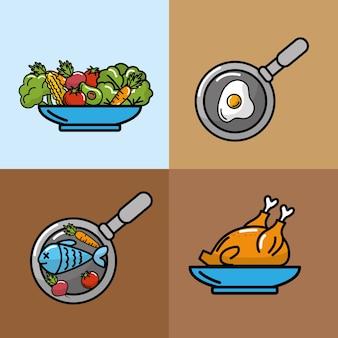 Establecer vegetales y frutas de nutrición con proteínas