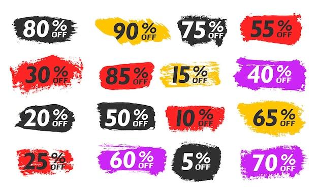 Establecer venta fuera de cepillo etiquetas de oferta especial año nuevo viernes negro cyber monday precio de descuento vector