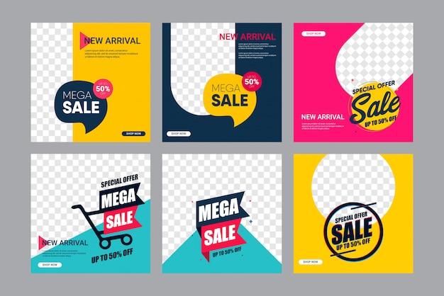 Establecer venta plantilla de diseño de banner moderno. hasta el 50% de descuento.