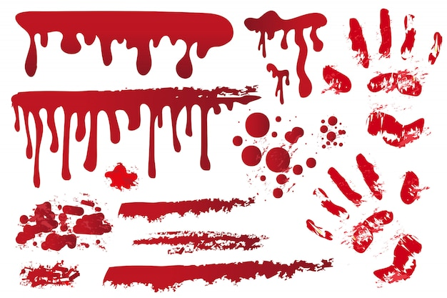 Establecer vetas sangrientas realistas. huella de la mano en la sangre. salpicaduras rojas, spray, manchas. gotas, gotas de manchas de sangre sobre fondo blanco. concepto de halloween ilustración.