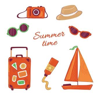 Establecer viajes de vacaciones de verano. ilustración de cámara de fotos y gafas de sol