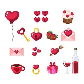 Establecido sobre el tema de las vacaciones de amor de san valentín. paquete de objetos aislados del día de san valentín en estilo de dibujos animados.