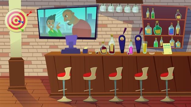 Establecimiento de bebidas. interior de pub, cafetería, bar ilustración