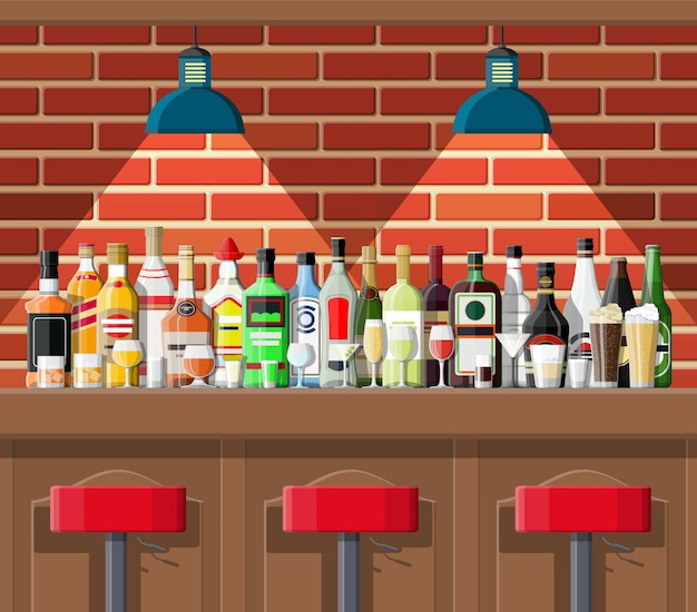 Establecimiento de bebidas. interior de pub, cafetería o bar