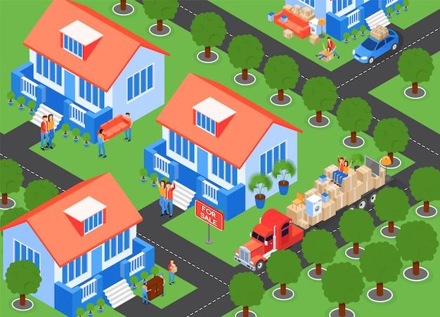 Establecimiento en casas ciudad, ilustración