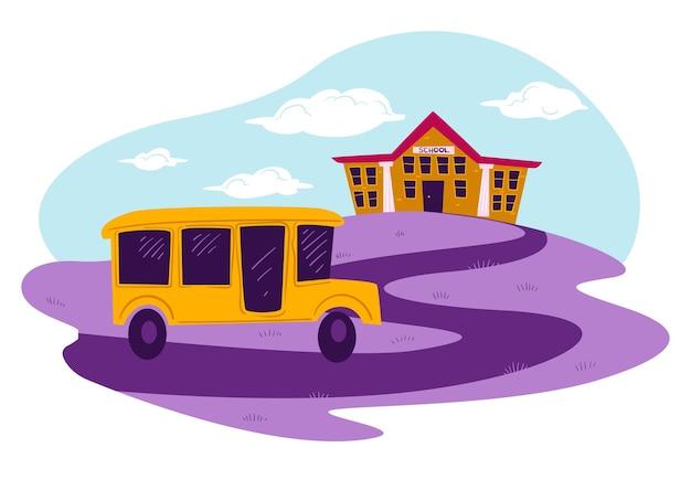 Establecimiento educativo y autobús escolar en camino. alumnos y estudiantes que conducen automóviles a lecciones y clases. viaje por carretera por la mañana a la universidad o colegio, transporte de niños vector en estilo plano