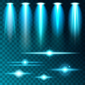 Establezca un brillo de luz realista, un resplandor brillante de lámparas azul brillante, un conjunto de diversas formas y proyecciones