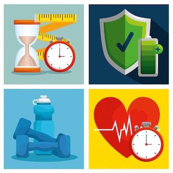 Establezca un estilo de vida saludable con equilibrio de ejercicio de bienestar