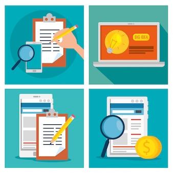 Establezca una estrategia comercial con información tecnológica y de documentos.