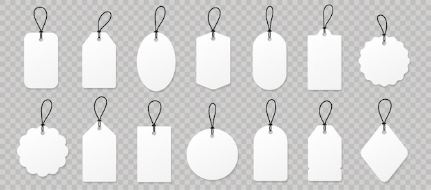 Establezca etiquetas de precio de papel blanco en blanco o etiquetas de regalo.