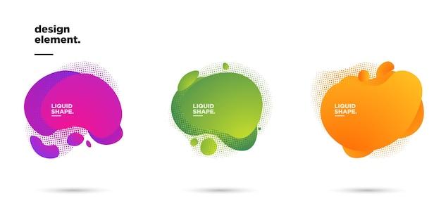 Establezca el gráfico vectorial de ilustración de formas y elementos de línea de colores dinámicos abstractos modernos. fondo abstracto degradado que fluye formas líquidas. plantilla para el diseño de un folleto, presentación.