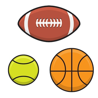 Establezca la pelota de baloncesto, tenis, rugby en estilo plano.