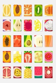 Establezca la tarjeta de plantilla de fruta fresca rebanada, diseño vertical de portada de revista sobre fondo blanco, concepto de estilo de vida o dieta saludable broshure, logotipo para ilustración de vector de cartel de frutas, plano