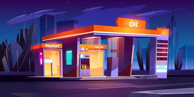 Estación de aceite en la noche. servicio de repostaje nocturno