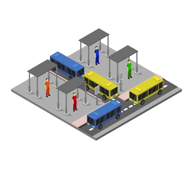Estación de autobuses isométrica