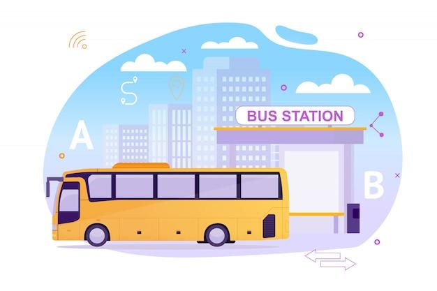 Estación de autobuses con vehículo esperando a los pasajeros.