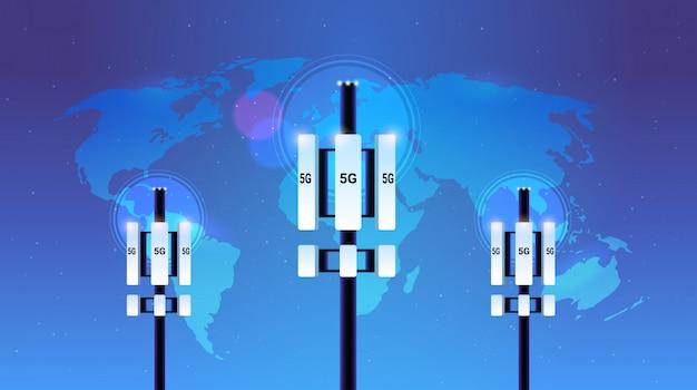 Estación base receptor 5g torre de comunicación en línea sistemas de tecnología de red concepto de transmisor de información de conexión