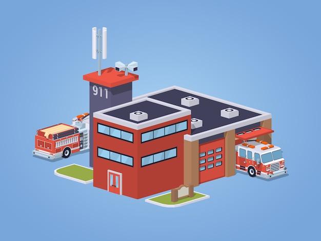 Estación de bomberos de baja poli