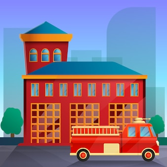 Estación de bomberos de dibujos animados y camión de bomberos, ilustración vectorial