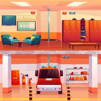 Estación de bomberos interior vacío y garaje con coche
