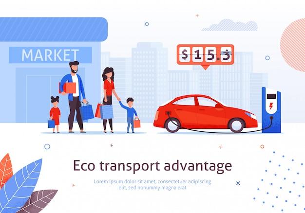 Estación de carga para autos eléctricos en el estacionamiento del mercado