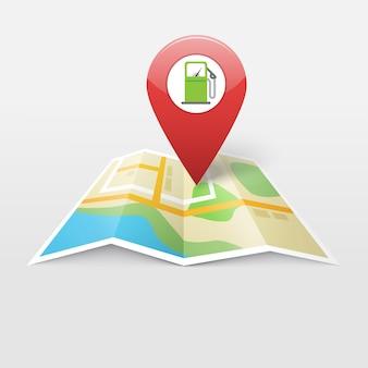Estación de combustible de gasolina a gas en el marcador de puntero de ubicación del mapa, gps de navegación de combustible de gasolina