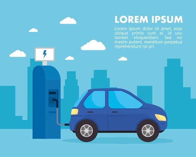 Estación eléctrica ecológica y coche azul en diseño vectorial de ciudad