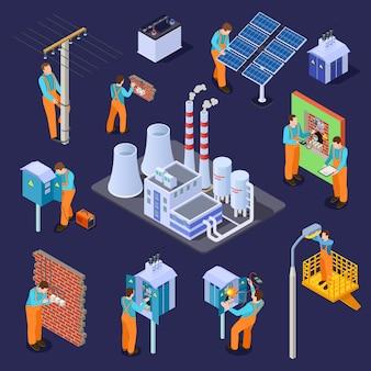 Estación eléctrica y electricistas, conjunto isométrico de trabajadores