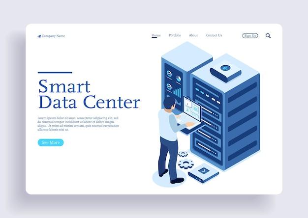 Estación de energía del hardware futuro del centro de datos global con carácter que verifica el estado del servidor