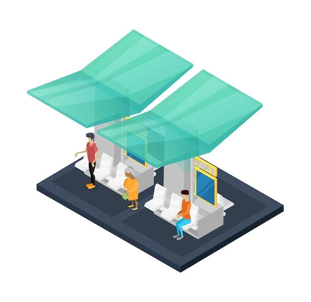 Estación de espera de la ciudad isométrica 3d