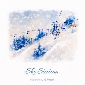 Estación de esquí en acuarela