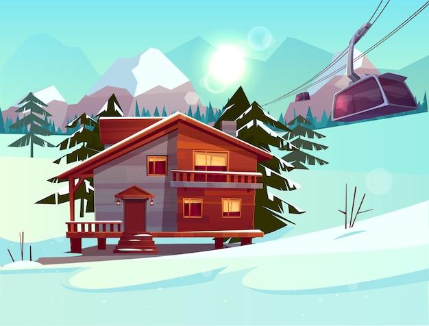 Estación de esquí con casa o chalet, cabina de funicular que se levanta en el teleférico.