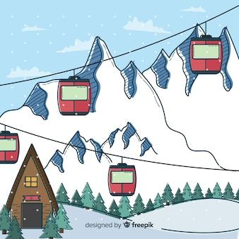 Estación de esquí dibujada a mano