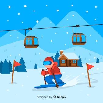 Estación de esquí en estilo plano