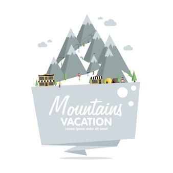 Estación de esquí en montaña, invierno, nieve y diversión.