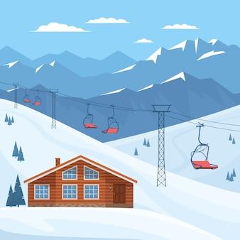 Estación de esquí con telesilla