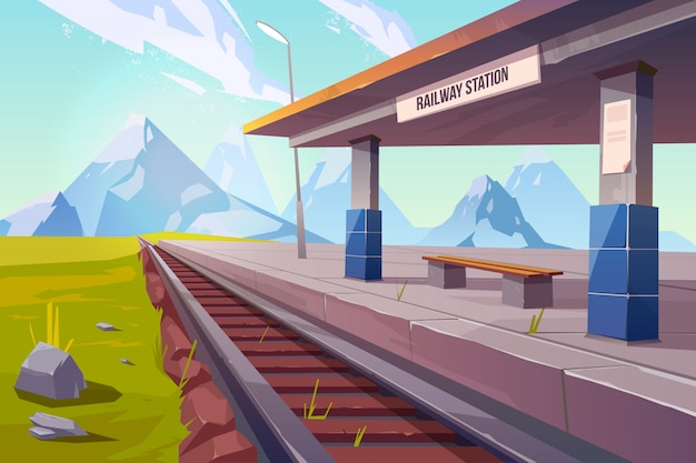 Estación de ferrocarril en las montañas