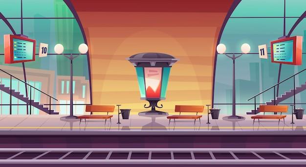 Estación de ferrocarril, plataforma de ferrocarril vacía para tren