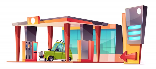 Estación de gasolina de dibujos animados