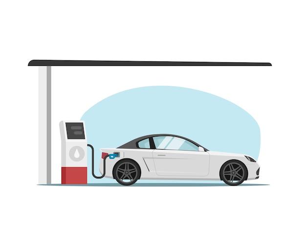 Estación de gasolina con ilustración de dibujos animados plana de reabastecimiento de combustible de automóvil