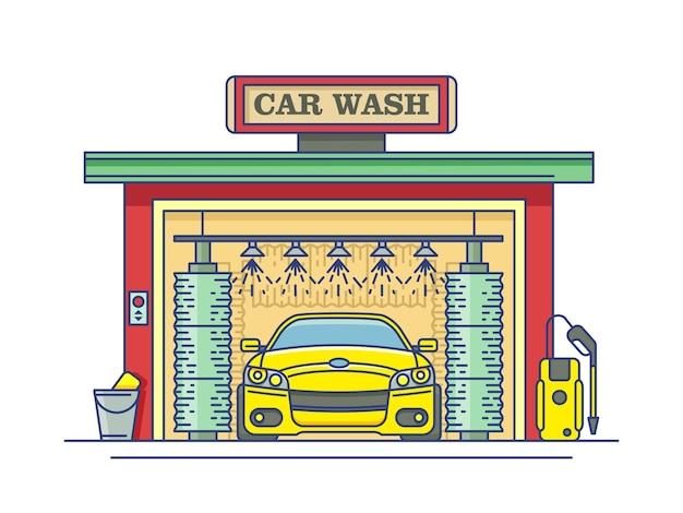Estación de lavado de autos. servicio de limpieza automática, garaje y transporte.