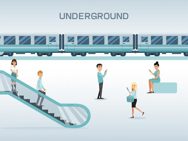 Estación de metro de la ciudad, carácter masculino femenino uso escaleras mecánicas y esperando tren, concepto ilustración plana.